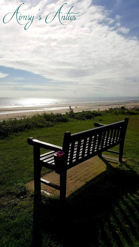 Bench in sunlight overlooking a beach