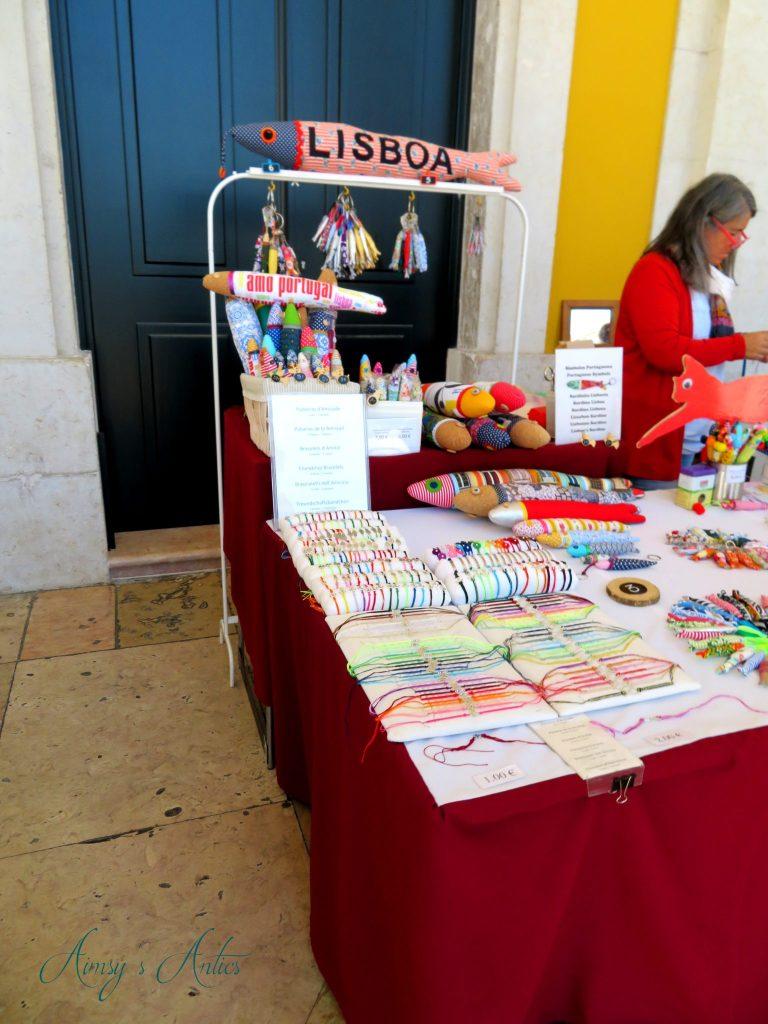 Handmade craft stall in Lisbon with hand made stuffed sardines