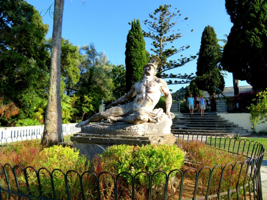 Statue of Achilles sat down outside of Achilleion Palace, Corfu