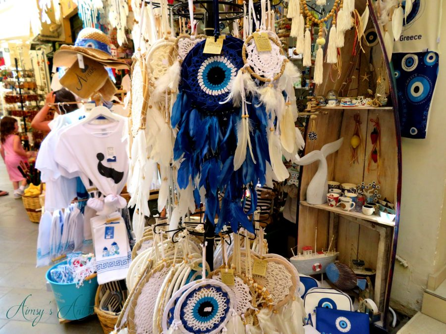 Evil eye dream catchers on a shop display