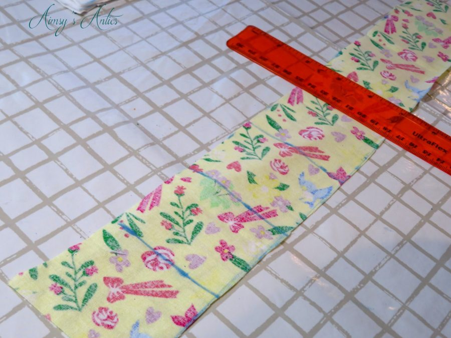 Marking squares out on patterned material