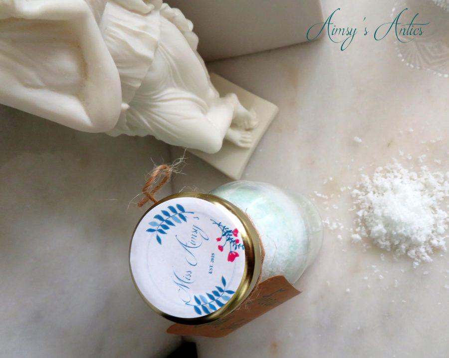 Miss Aimsy's label on the bath salts jar