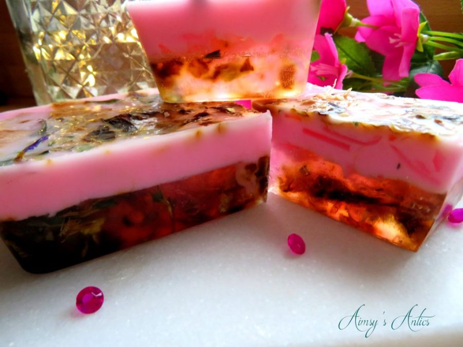 Layered soap with embeds