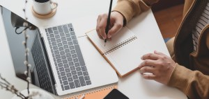 content marketing writer with laptop