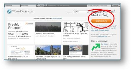 Cara Membuat Blog WordPress Gratis: Klik Tombol Sign up untuk memulai mendaftar di wordpress