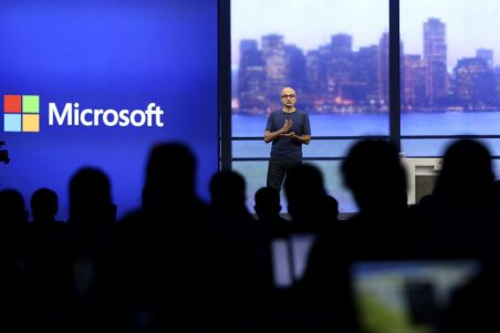 "Microsoft CEO Satya Nadella speaks during his keynote address at the company's ""build"" conference in San Francisco"