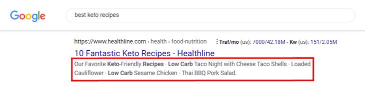 example of meta description on google