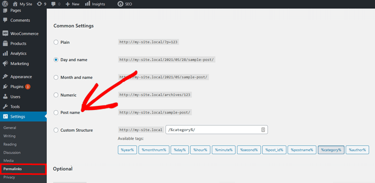 day and time permalink setting in wordpress 2