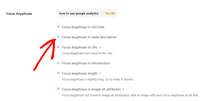 focus keyphrase analysis in all in one seo