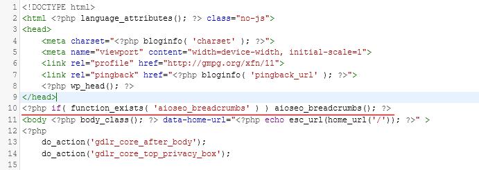 header php file
