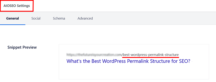 permalink structure preview in all in one seo