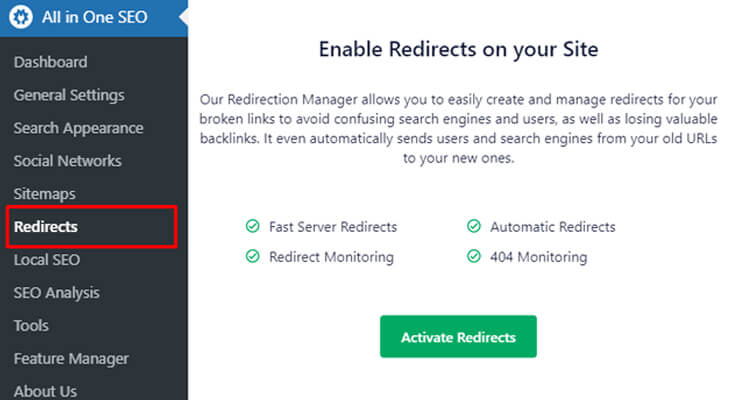 enable redirect on your site