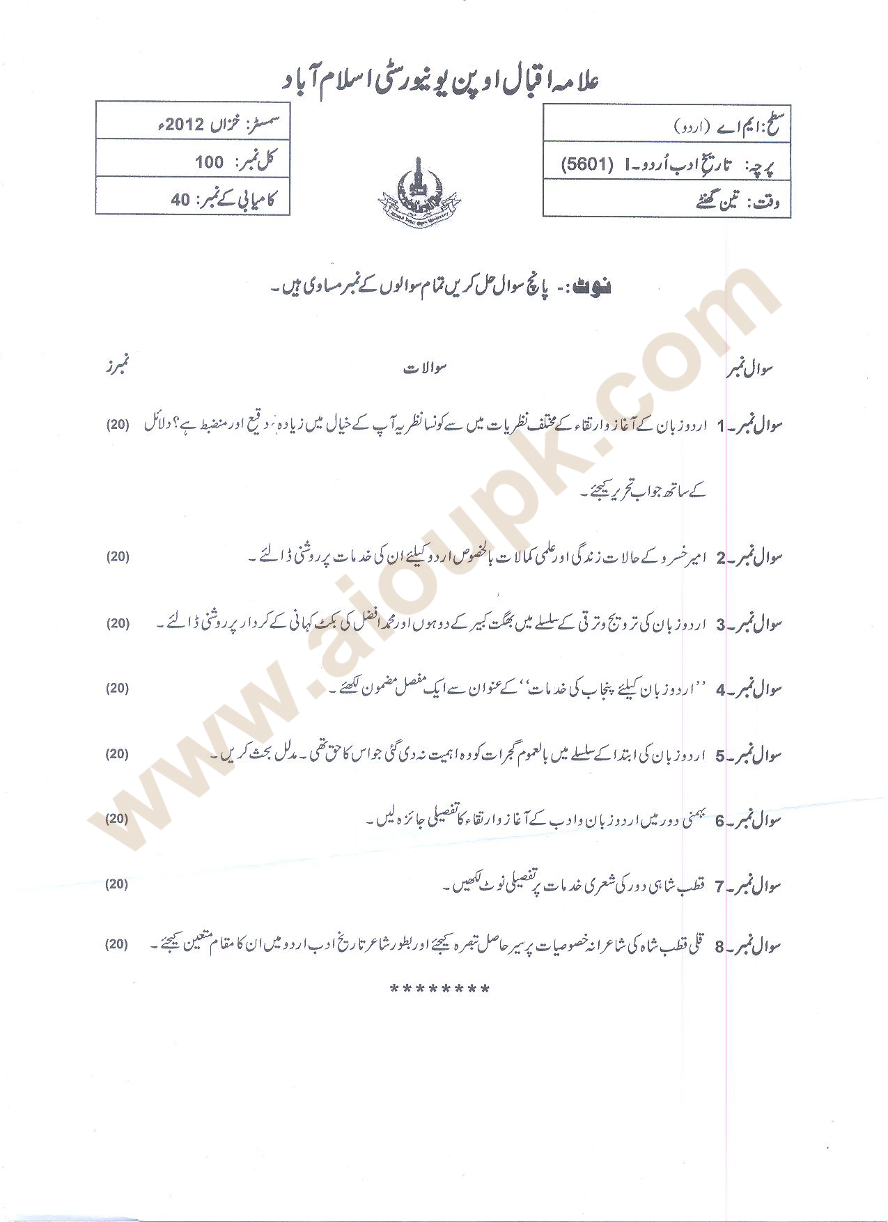 Aiou Past Papers Ma Urdu Code Course History Of Urdu Adab 1 Autumn