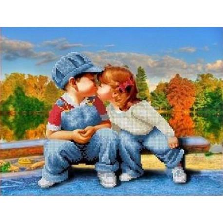 ТКБЛ 3011 Первый поцелуй Канва с рисунком для вышивки ...