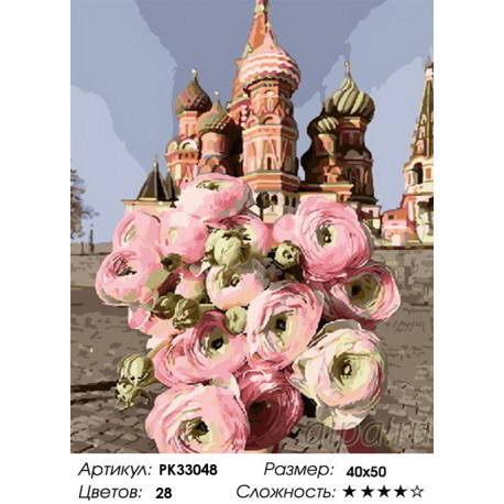 PK33048 Букет на Красной площади Раскраска картина по ...