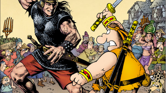 If you're unfamiliar with the character Groo, let me sum him up for you: he's a bumbling idiot barbarian who can never do the right thing with a handy dog as a sidekick. He's all about the laughs, but in a strange sense he's similar to Conan in a lot of ways. Now we finally* get to see these characters team up. Is it good?