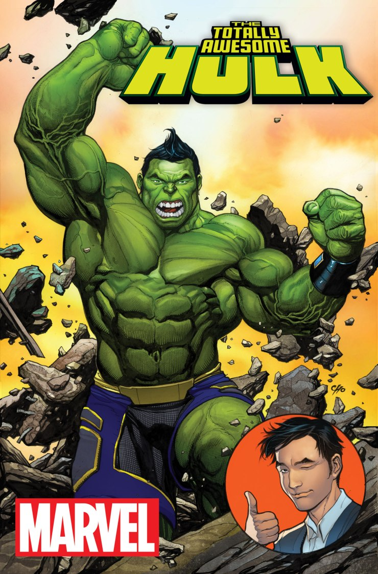 Strap in, hold on and Hulk out True Believer. It's time for a new Jade Giant for a new Marvel Universe. Amadeus Cho is here, and he's throwing a gamma punch in your face this December in THE TOTALLY AWESOME HULK #1 -  the explosive new series from writer Greg Pak and artist Frank Cho! A 19-year old boy genius is now the strongest being in the Marvel Universe. What could possibly go wrong? The mystery behind the Hulk's new identity may have been revealed. But the questions don't stop there. How did he come to be? What happened to Bruce Banner in the previous eight months. All will be revealed. But first – prepare for a completely different kind of Hulk. Not tormented. Not conflicted. Just a giant green wrecking machine who loves being the Hulk!