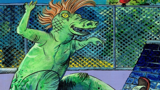 Imagine for a second, a Boston where a mohawked velociraptor can appear out of nowhere atop a sick skateboard and shred through Beantown's historic streets. If you're having trouble picturing it, fear not, for illustrator and graphic novelist Jack Turnbull has the comic book series for you.