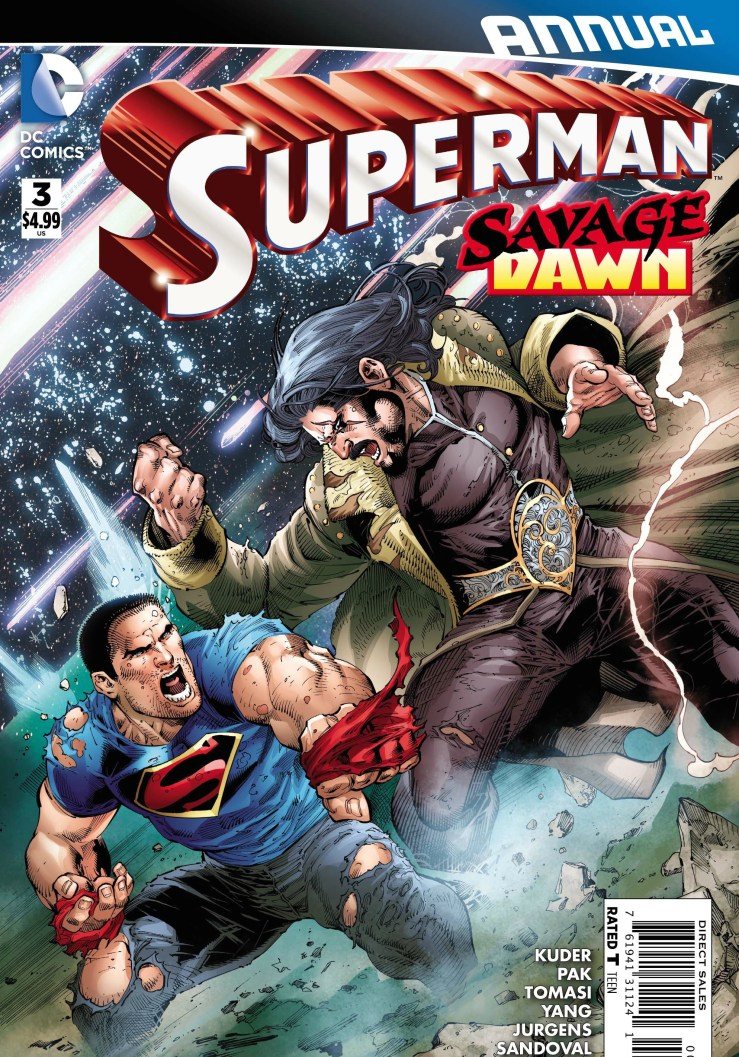 """Last week's Superman #47 ended with a cliffhanger explored in Superman Annual #3 and the cover seems to suggest a certain """"savage"""" villain is making an appearance. Is it good?"""