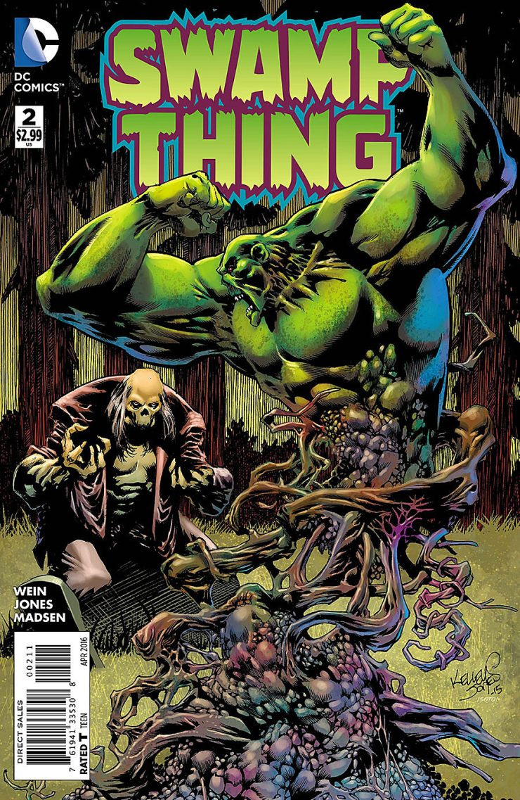 "It's easy to miss it but with a name like Swamp Thing the ""Swamp"" portion often sticks out. The thing is... he's a ""thing"" too -- a monster, a very odd weird looking thing and that's an aspect that isn't always captured as well as it could be. Can the second issue make good on that component of the character?"