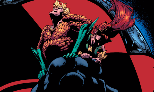 Black Manta is getting ever closer to crushing Aquaman (just look at the cover), but he's doing it politically. Aquaman was recently whooped right in the street by the Shaggy Man (literally), and Mera was whooped by the Widowhood (figuratively speaking), so they've seen better days. This issue deals with the fallout, but is it good?