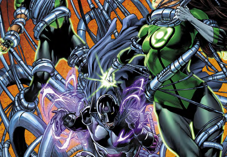The Green Lanterns are facing off against Magneto-ahem-I mean Polaris and it's not looking so good. He's crushed a car around them and sent them to the bottom of a very deep body of water. How will they get out?  Is it good?