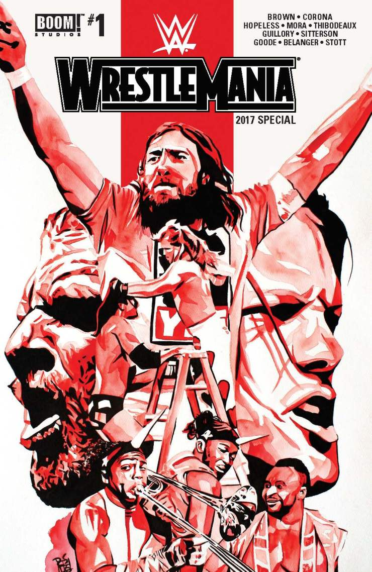 We're mere days away from the show of shows, the granddaddy of them all, the showcase of the immortals--WrestleMania! To celebrate, BOOM! Studios has released the WWE WrestleMania 2017 Special, an annual-like compilation of five mini stories, most covering pivotal moments in WrestleMania history. The main WWE comic series has been fantastic thus far, but how about this special? Is it good?