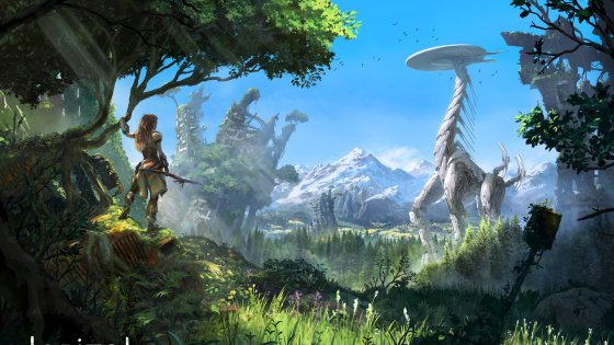 1000 years ago a cataclysm destroyed life as we know it, nearly wiping out the human race.  Machines rose and cities became ruins as nature took back the land.  The humans that were left fell into a tribal system.  From one tribe, an outcast, the hunter Aloy, fights against the machines and tries to learn the secrets of the lost civilization.  This is the the plot to Gureilla Games' new PlayStation 4 action/role playing game, Horizon Zero Dawn.  One of the best aspects of this open world game are the stunning visuals that continue to impress long after you've started. From giant dinosaur robots, to plant covered ruined cities, the look of the game keeps pushing the player to explore every inch of terrain it has to offer. With The Art of Horizon Zero Dawn being released, gamers can see how the visual style evolved and relish the beautiful designs this game has to offer, without looking over their shoulder for a bandit or robot trying to kill them.