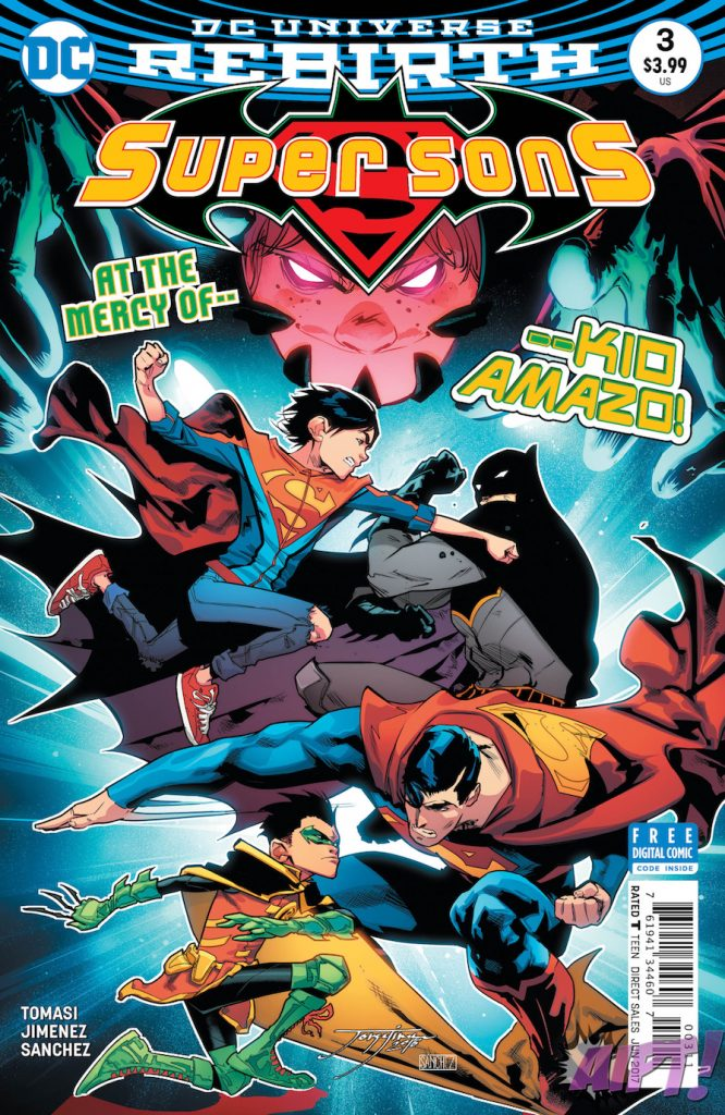 """""""When I Grow Up"""" part three! It's Super-Son vs Bat-Son as the exciting new series continues! Kid Amazo is ready to rip the hearts out of the world's not-so-finest super duo. Face to face with their newest—and first—villain, Jonathan and Damian strike out the only way they know how…at each other!"""
