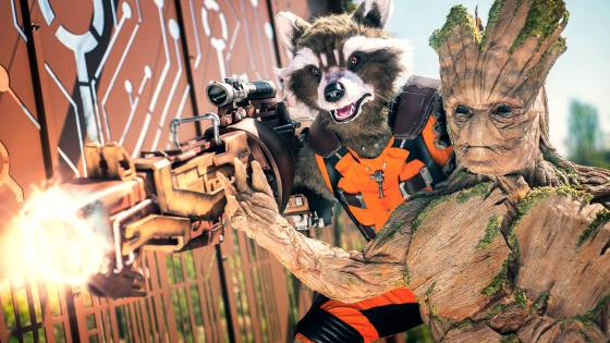 Are you all ready for today's theatrical release of Guardians of the Galaxy Vol. 2?  If our advance movie review, yesterday's featured Gamora and Star-Lord cosplay gallery, or The Art of the Movie review didn't get you hype enough, please allow this magnificent cosplay rendition of Groot and Rocket Raccoon by Edes and Jerome to get you more than ready for some space-faring satisfaction.  Teach us your ways, Edes and Jerome!