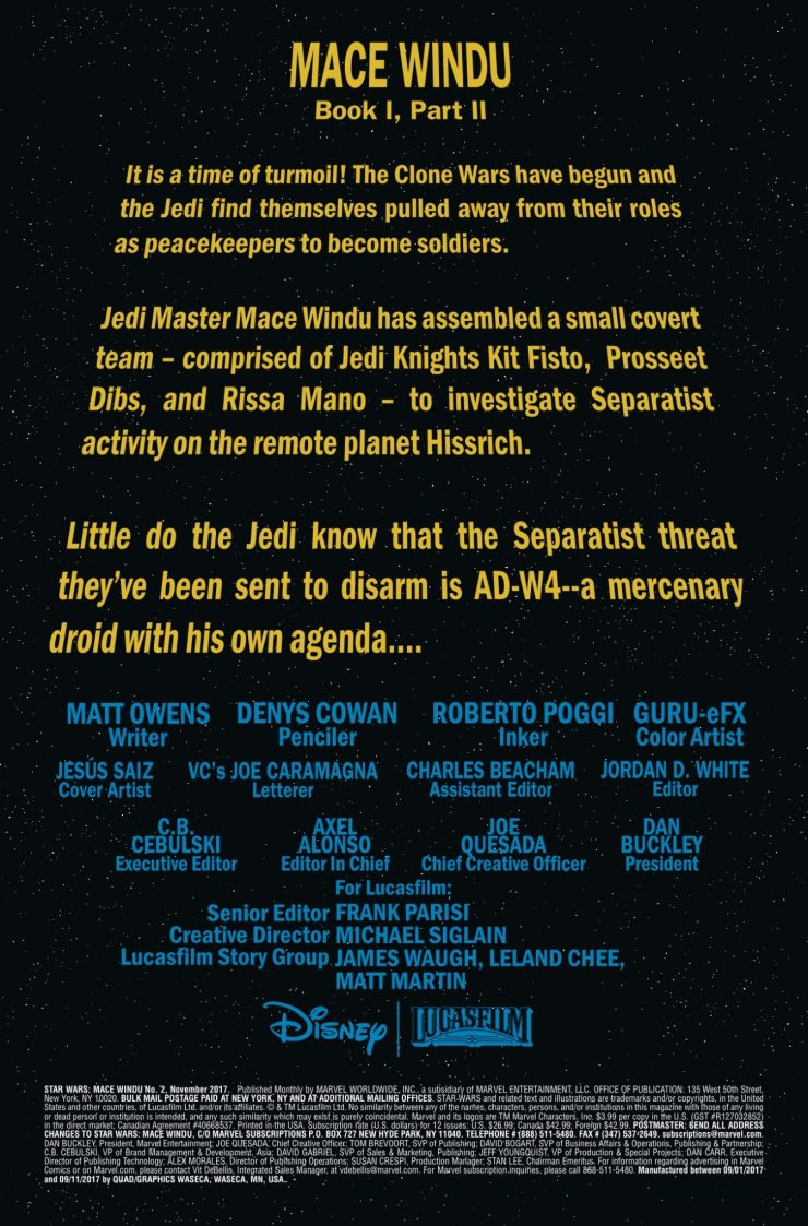 Marvel Preview: Star Wars: Mace Windu: Jedi of the Republic #2