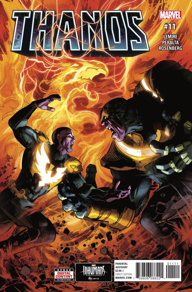Thanos, depowered.  Thane, host of the Phoenix Force.  Round Two!  RIP Thanos?