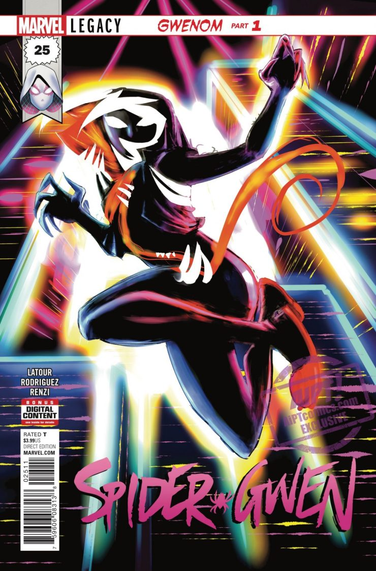 GWENOM Part 1 Gwen's life irrevocably changes as she bonds with her universe's version of the Venom symbiote.