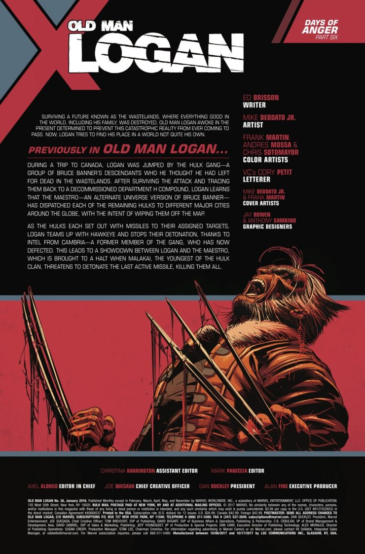 Marvel Preview: Old Man Logan #30