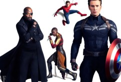 Nick Fury, Okoye, Spider-Man and Captain America