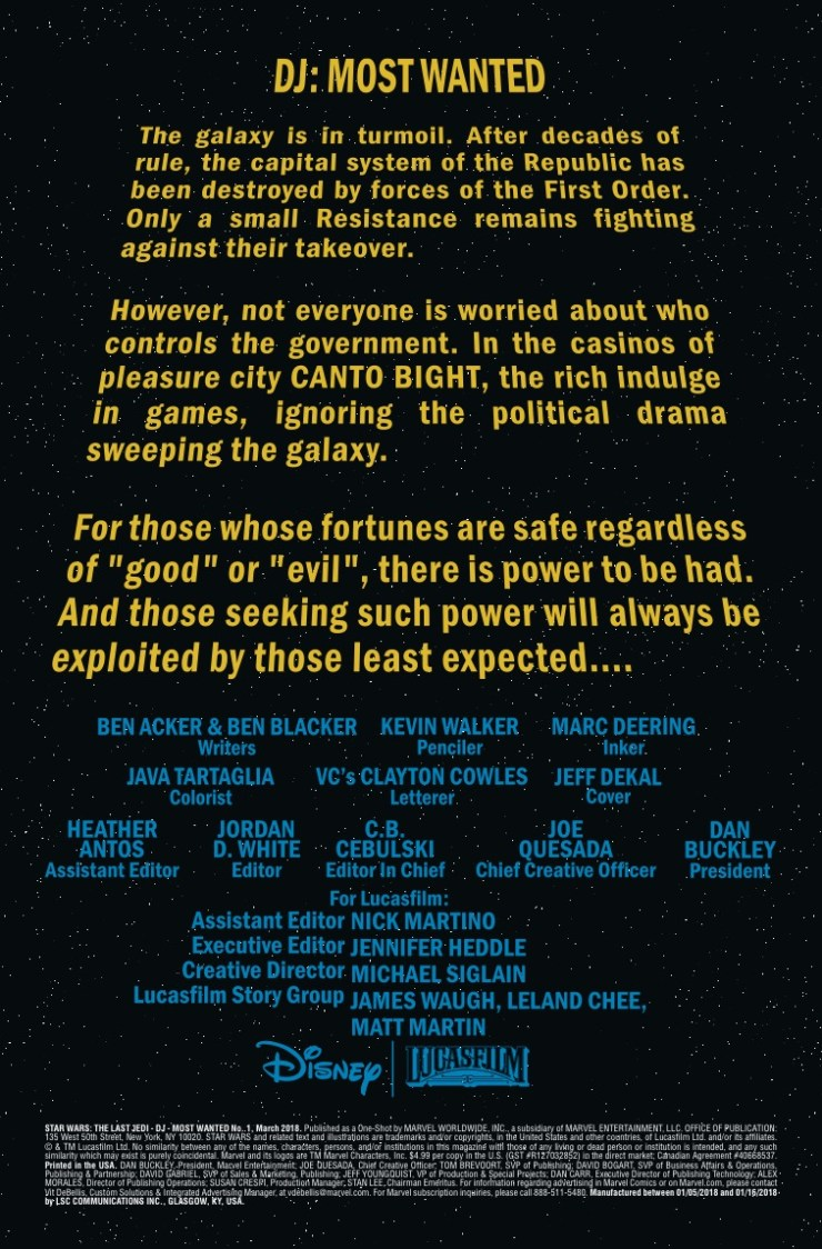 Marvel Preview: Star Wars: DJ: Most Wanted #1