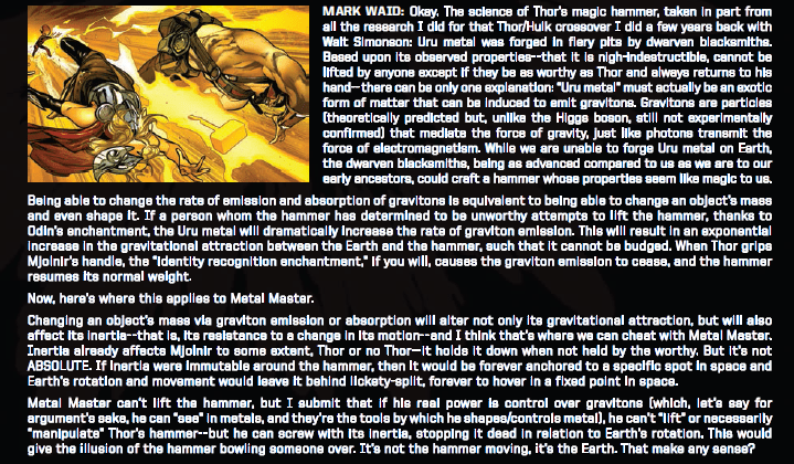Mark Waid invokes the SCIENCE to explain Metal Master's Mjolnir manipulation in Avengers: No Surrender