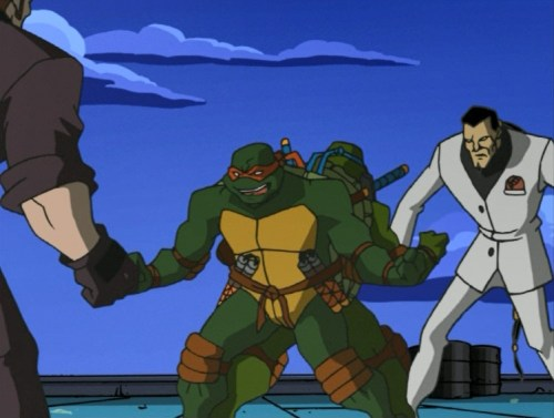 Touch and Go fight Raphael and Leonardo