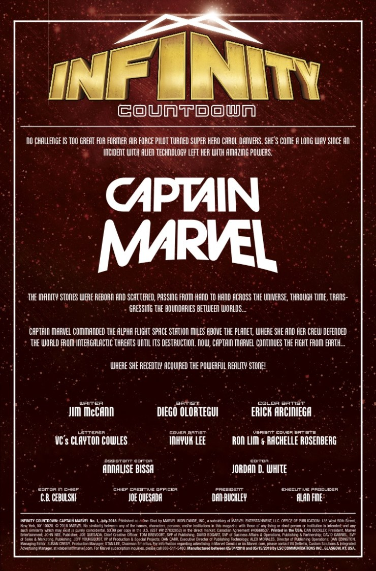 Marvel Preview: Infinity Countdown: Captain Marvel #1