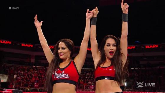 The Bella Twins return to action on WWE Raw, defeat the Riott Squad