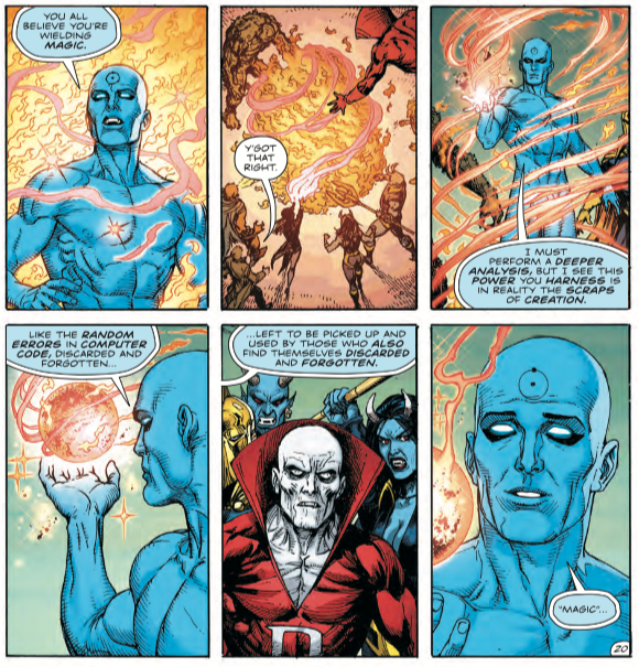 Dr. Manhattan discovers a fascinating truth about all DCU superheroes in 'Doomsday Clock' #9