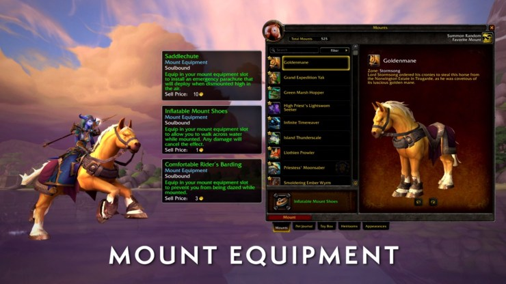 World of Warcraft: Mount equipment will soon allow you to walk on water, prevent daze, and more