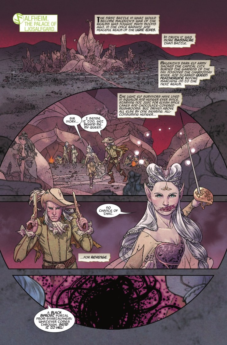 I will, as is my wont, continue to gush over the creative team of Jason Aaron, Russell Dauterman, and Matt Wilson. They have established themselves as a premier team and perhaps one of the most consistently inventive in comics today. With War of the Realms #4, they have topped themselves in several respects, exceeding already high expectations.