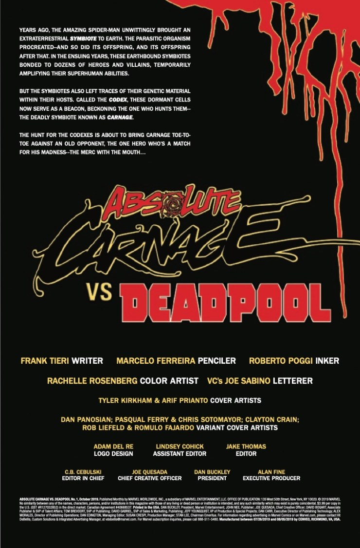 Marvel Preview: Absolute Carnage Vs. Deadpool #1