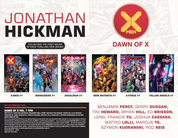 'Dawn of X' TPB coming February 2020 for trade waiting X-Men fans