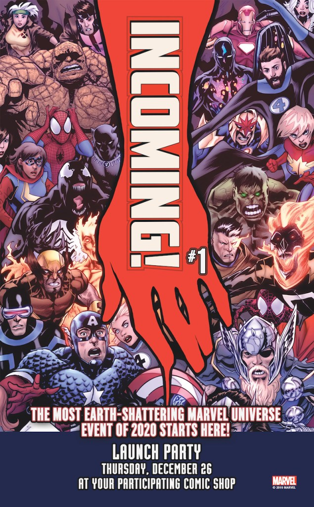 Marvel Comics is hosting 'Incoming' #1 launch parties in comics shops on December 26th