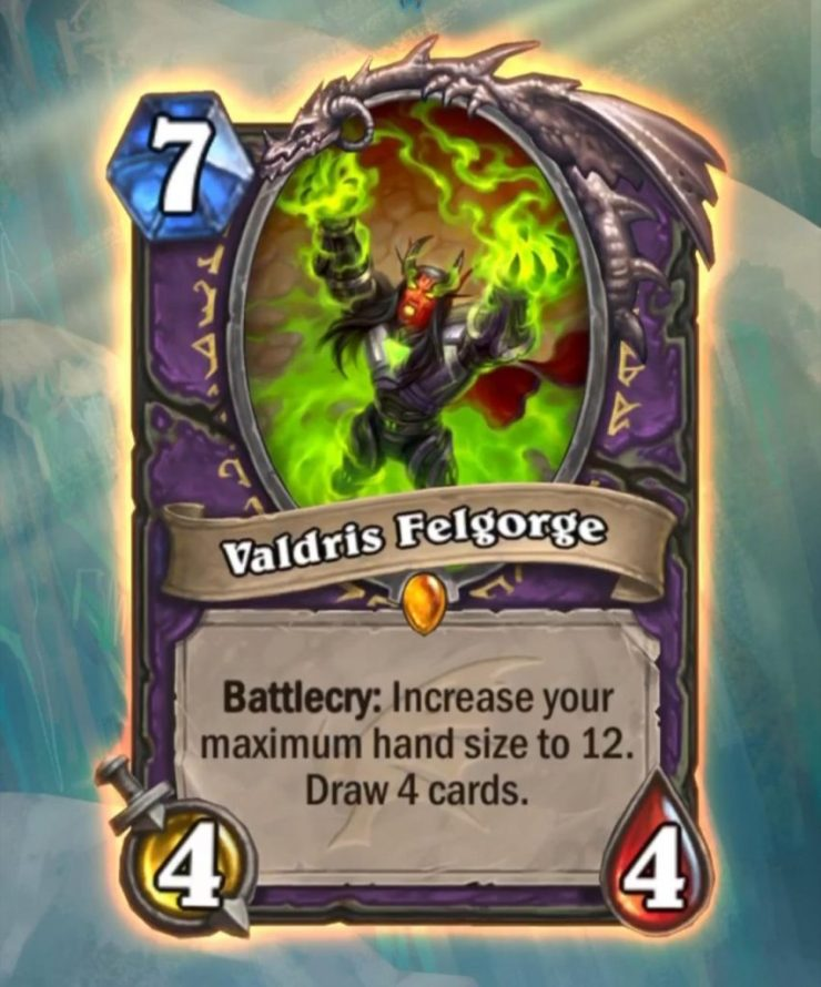 Holy hand-size, Gul'dan. The crazy sumbitches at Team 5/Blizzard actually did it -- a card that increases a player's maximum hand size from 10 to 12. Behold, Warlock Lgendary minion, Valdris Felgorge.