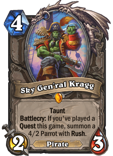 Watch out below, ye barnacle-bottomed swine: Sky Gen'ral Kragg arrives in Galakrond's Awakening.