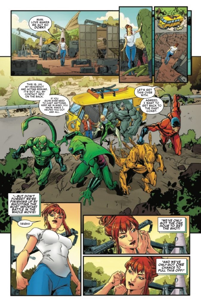 All that stands between MJ and Mysterio's ragtag crew and filming their climactic battle scene is...well, VULTURE, STEGRON, TARANTULA, KING COBRA, RHINO, and SCORPION!