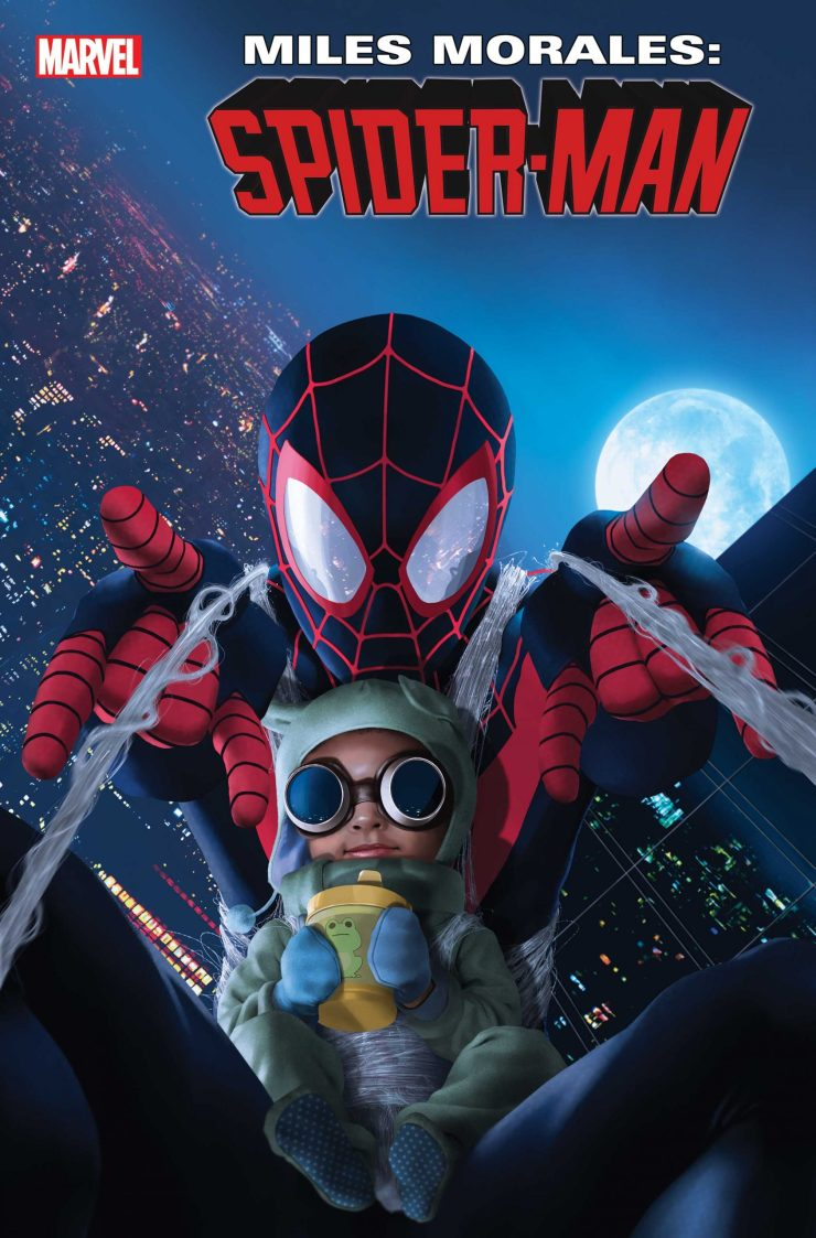 Celebrate the latest addition to the Spider-Man family with the Baby Morales cover!